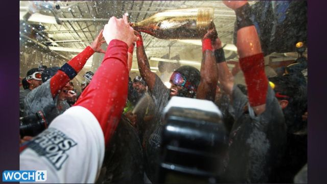 News video: Red Sox Celebration: Boston Party Included HUGE Champagne Bottle In Locker Room